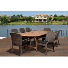 Ibis Extendable 9 Piece Dining Set with Off-White Cushions