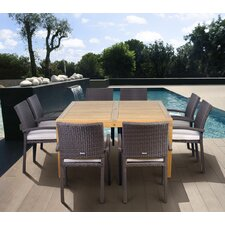 <strong>International Home Miami</strong> Amazonia Teak Davenport 9 Piece Dining Set