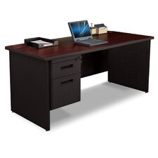 "Pronto 66"" W Single Pedestal Desk with Box and File"