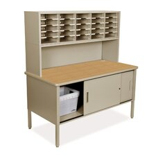 Mailroom 25 Adjustable Slot Literature Organizer with Riser and Cabinet