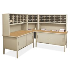 Mailroom 60 Adjustable Slot Literature Organizer with Cabinet