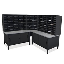Mailroom 100 Slot Organizer with Cabinet