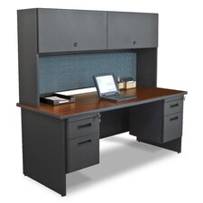 Pronto Executive Desk with Flipper Door Cabinet and Drawer