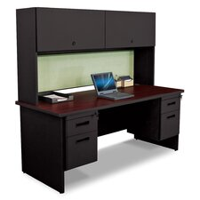 "Pronto 72"" W Double File Desk with Flipper Door Cabinet"