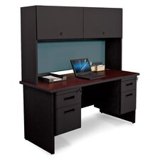 Pronto Double File Desk Credenza with Flipper Door Cabinet