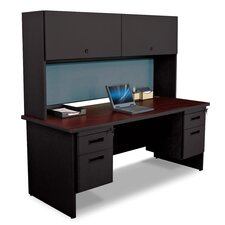 "Pronto 72"" Double File Desk with Flipper Door Cabinet"