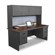 "Pronto 72"" Double File Computer Desk with Flipper Door Cabinet"