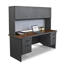 "Pronto 72"" Double File Computer Desk Credenza with Flipper Door Cabinet"