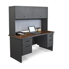 "Pronto 60"" Double File Computer Desk Credenza with Flipper Door Cabinet"