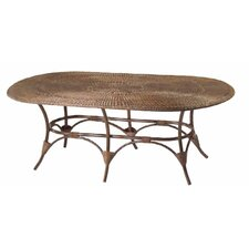 WickerLoom Oval Table with Glass Top