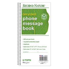 <strong>Tops</strong> Second Nature 2 Part Carbonless Phone Message Book (Set of 20)
