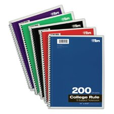"11"" x 8.5"" 5 Subject College Ruling Wirebound Notebook (Set of 24)"