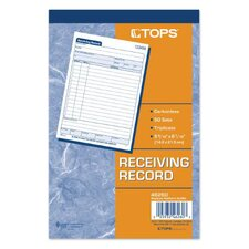 <strong>Tops</strong> 3 Part Carbonless Receiving Record Book (Set of 50)