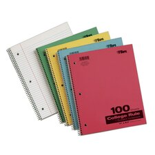 "11"" x 8.5"" Pressboard Cover 1 Subject College Ruling Wirebound Notebook (Set of 24)"