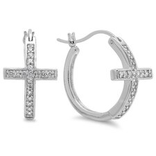 Sideways Cross Cubic Zirconia Hoop Earrings