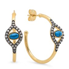Evil Eye Half Turquoise Hoop Earrings