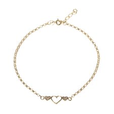 14k Gold over Silver Triple-heart Anklet