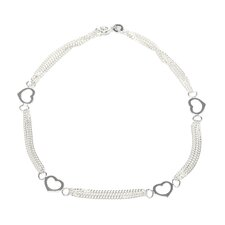 Sterling Silver Heart Stations Anklet