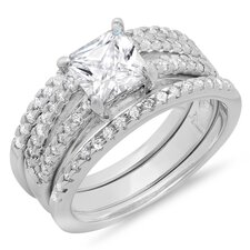 Sterling Silver Princess Cut Cubic Zirconia Solitaire Bridal Set