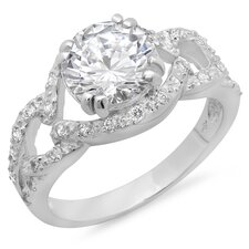 <strong>Sterling Essentials</strong> Neo-Vintage Sterling Silver Round Cut Cubic Zirconia Ring