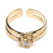 Caribe Gold 14k Gold over Sterling Silver Cubic Zirconia Clover Toe Ring