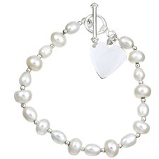 Sterling Silver Freshwater Cultured Pearl Heart Bracelet