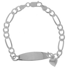 <strong>Sterling Essentials</strong> Sterling Silver 7 inches ID Bracelet with Heart Charm