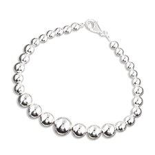 Platifina Platinum Plated Sterling Silver Graduated Bead Bracelet