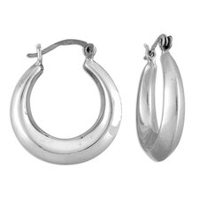 Sterling Silver Peaked-tube Hoop Earrings