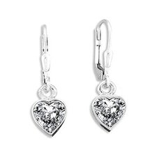 <strong>Sterling Essentials</strong> Sterling Silver 8.5mm Cubic Zirconia Heart Drop Earrings