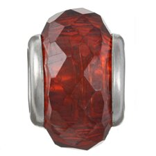 <strong>Sterling Essentials</strong> Signature Moments Sterling Silver Faceted Cubic Zirconia Bead in Red