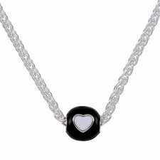 <strong>Sterling Essentials</strong> Sterling Silver Black and White Heart Bead Necklace