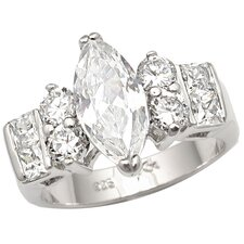 <strong>Sterling Essentials</strong> Sterling Silver Marquise Cubic Zirconia Engagement-inspired Ring