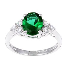 Sterling Silver Green Oval Cubic Zirconia Ring