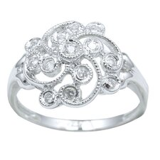 Sterling Essentials Sterling Silver Cubic Zirconia Vintage-style Ring