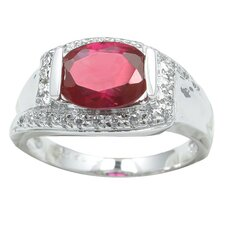 <strong>Sterling Essentials</strong> Sterling Silver Cubic Zirconia Ring in Red/White