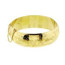14k Gold over Silver 2.25 inches Engraved Bangle Bracelet