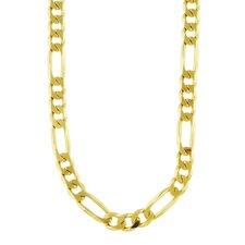 14k Gold over Silver Diamond-Cut Figaro Chain Bracelet