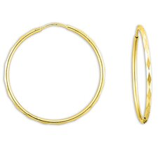 14k Gold over Silver 32.5mm Faceted Hoop Earrings