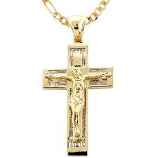 14k Gold over Silver Cubic Zirconia Crucifix Necklace
