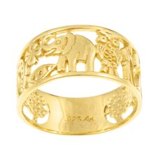 14k Gold over Silver Fortuna Cutout Ring