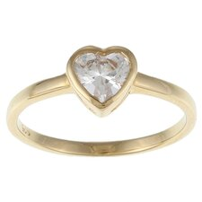 <strong>Sterling Essentials</strong> Caribe Gold 14k Gold over Silver Cubic Zirconia Heart Ring