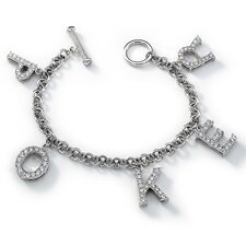 <strong>Sterling Essentials</strong> Sterling Silver Cubic Zirconia Poker Charm Bracelet