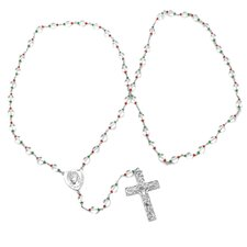 Gold Plated Bronze Rosary Necklace