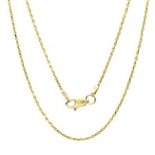 <strong>Sterling Essentials</strong> 14K Gold Diamond-Cut Rope Chain Necklace