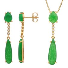 14K Gold Plated Sterling Silver Jade Necklace and Earring Set