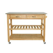 <strong>Castleton Home</strong> Kitchen Island Cart with Stainless Steel Top