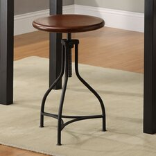 Logan Adjustable Metal Barstool with Wood Seat