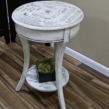 Vintage Parisian Script End Table