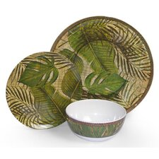 Melamine Tropical Leaf 3 Piece Dinnerware Set